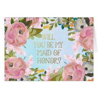 Dream Garden Floral Custom Maid of Honor Request Card