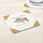 Dream Garden Floral Personalised Wedding Square Paper Coaster