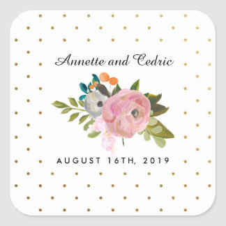 Dream Garden Floral Wedding Custom Favor Square Sticker