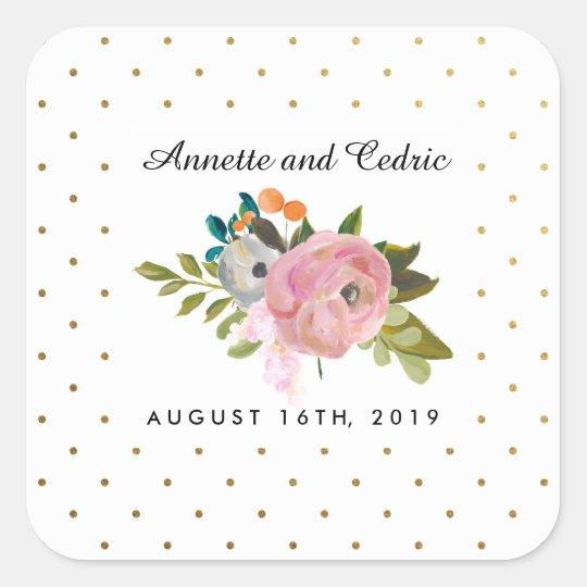 Dream Garden Floral Wedding Custom Favour Square Sticker