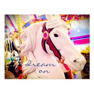 """Dream"" inspiration carousel horse photo postcard"