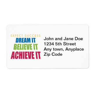 Dream It and Achieve It Shipping Label