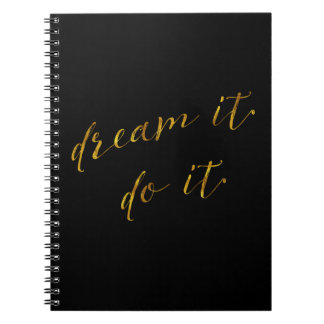 Dream It Do It Quote Faux Gold Foil Quotes Sparkly Notebook