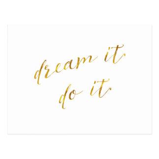 Dream It Do It Quote Faux Gold Foil Quotes Sparkly Postcard