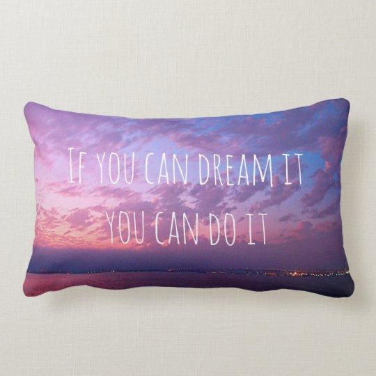 """Dream It Do It"" Quote Purple Ocean Sunset Photo Lumbar Cushion"