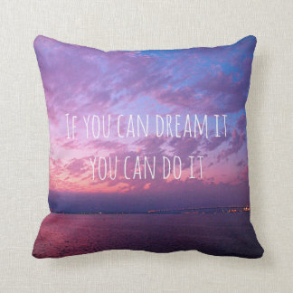 """Dream It Do It"" Quote Purple Sunset Photo (small) Cushion"