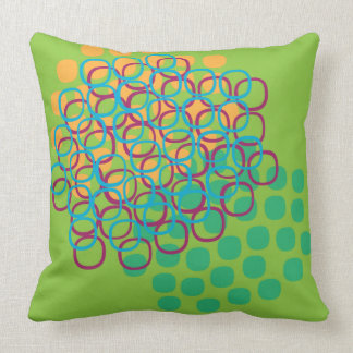 Dream-like colorful biomorphic abstract scene throw pillows