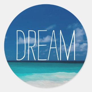 Dream of White Beachs and Blue Skies Round Sticker