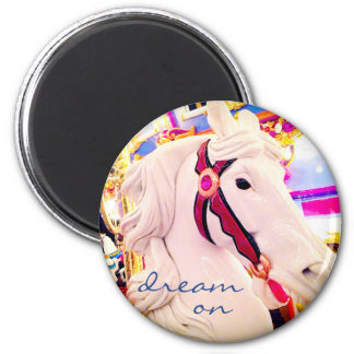 """Dream on"" colorful carousel horse photo magnet"