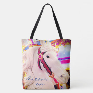 """Dream on"" white carousel horse photo tote bag"