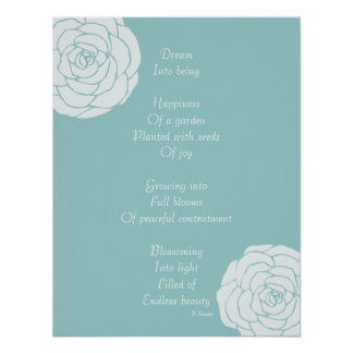 Dream Poem with White Roses Print