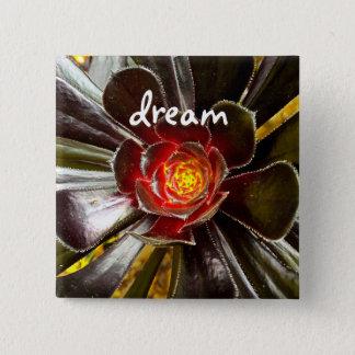 """""""Dream"""" quote giant orange and black cactus photo 15 Cm Square Badge"""