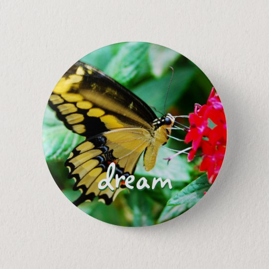 """Dream"" quote yellow and black butterfly photo 6 Cm Round Badge"