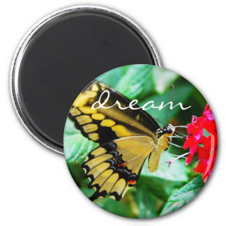 """Dream"" quote yellow black butterfly photo magnet"