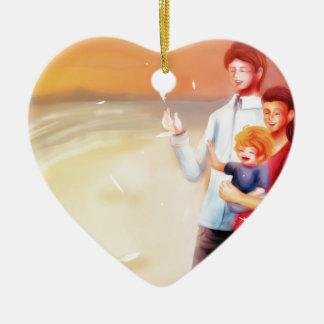 Dream Scene Family on the Beach Ceramic Heart Decoration
