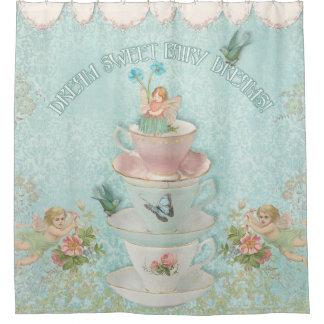 Dream Sweet Fairy Dreams Teacups Stacked w Birds Shower Curtain
