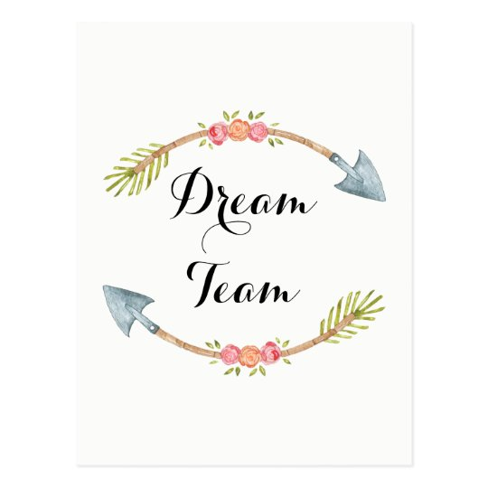 Dream Team Watercolor Tribal Arrow Postcard