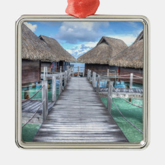 Dream Vacation Bora Bora Overwater Bungalows Christmas Ornament