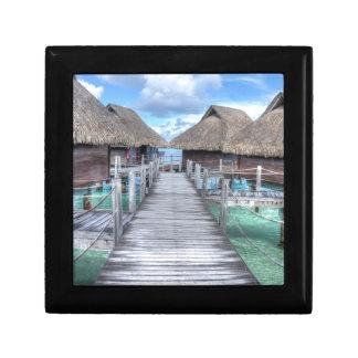 Dream Vacation Bora Bora Overwater Bungalows Small Square Gift Box
