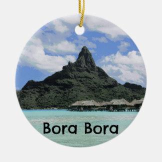 Dream Vacation Bora Bora Tahiti Atoll Formation Round Ceramic Decoration