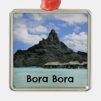 Dream Vacation Bora Bora Tahiti Atoll Formation Silver-Colored Square Decoration