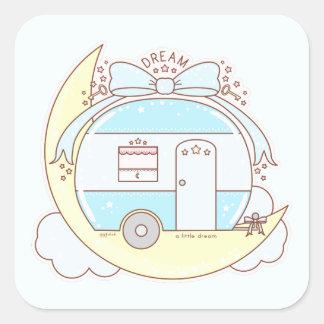 Dream Vintage Camper Trailer Square Sticker