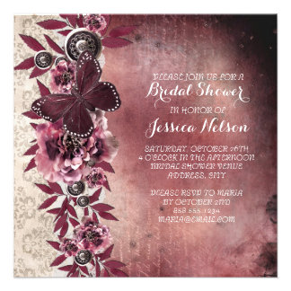 Dream Vintage Damask Butterfly Bridal Shower Announcement