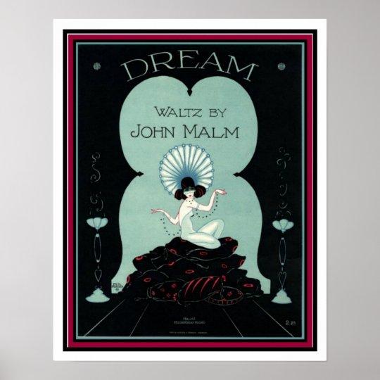 """""""Dream"""" Waltz Art Deco Sheet Music 16 x 20 Poster"""