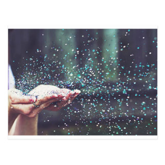 Dream Whimsical Party Sparkle Blowing Glitter Art Postcard