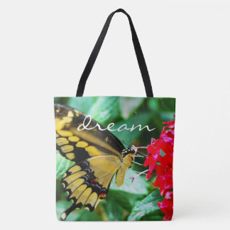 """""""Dream"""" yellow & black butterfly photo tote bag"""