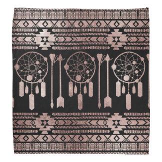 Dreamcatcher Rose Gold Tribal Aztec on Black Bandana