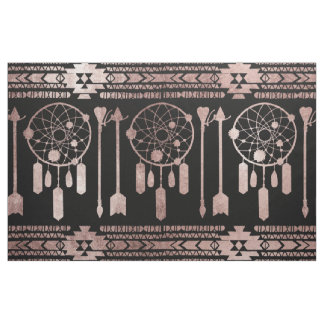 Dreamcatcher Rose Gold Tribal Aztec on Black Fabric