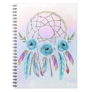 Dreamcatcher Watercolor Feathers Rustic Boho Chic Notebooks