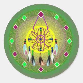 Dreamcatcher Yellow Native American Classic Round Sticker