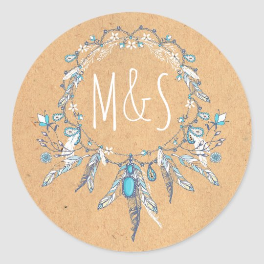 dreamcathcer boho vintage wedding classic round sticker