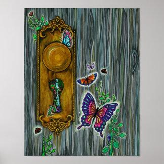 Dreamer s Door Fantasy Butterfly Keyhole Art Poster