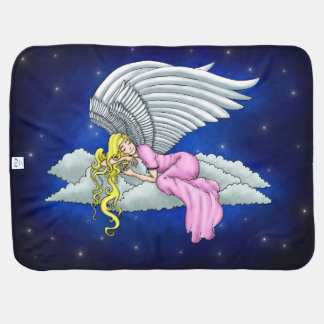 Dreaming angels in pink dress on cloud buggy blanket