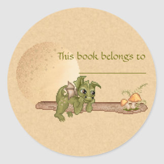Dreaming Dragon Bookplate Round Stickers