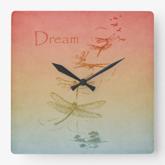 Dreaming Dragonflies Square Wall Clock
