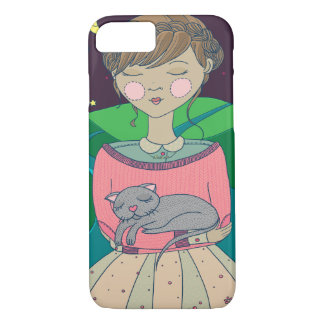 Dreaming Girl Illustration Pillow iPhone 7 Case