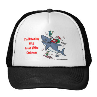 Dreaming Of A Great White Shark Christmas Cap