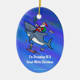 Dreaming Of A Great White Shark Christmas Christmas Ornament