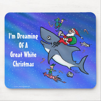 Dreaming Of A Great White Shark Christmas Mouse Mat