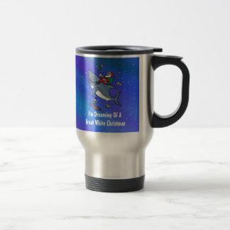 Dreaming Of A Great White Shark Christmas Travel Mug