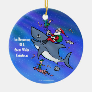 Dreaming Of A Great White Shark Funny Christmas Christmas Ornament