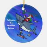 Dreaming Of A Great White Shark Funny Christmas Round Ceramic Decoration