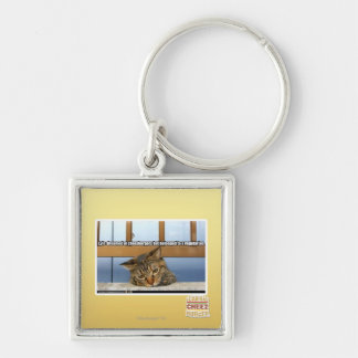 Dreaming of Cheesburgers Silver-Colored Square Key Ring