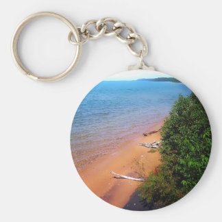 Dreaming of Lake Michigan Basic Round Button Key Ring
