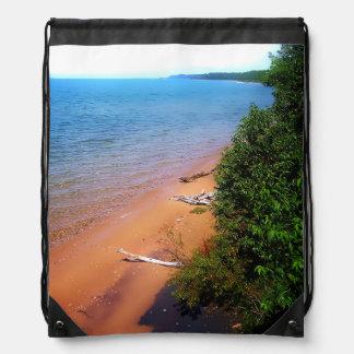 Dreaming of Lake Michigan Drawstring Backpacks
