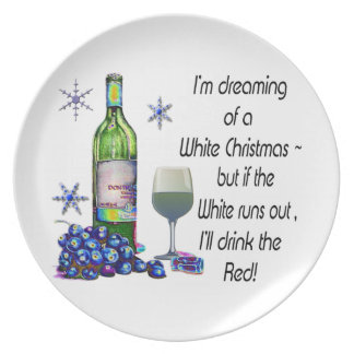 Dreaming of White Christmas, Funny Wine Art Gifts Plate